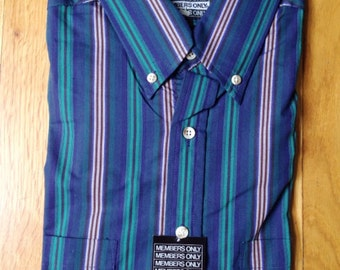vintage members only striped shirt mens size large tall