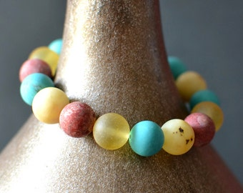 Amber Coral Turquoise Bracelet Colorful Bohemian Bracelet Modern Amber Jewelry