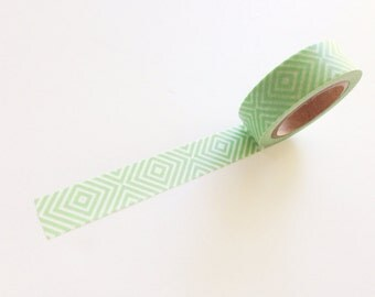 Mint Green Geometric Stripe / Chevron / Diamond Washi Tape - In Stock, Supplies, Paper Crafts, Commercial, Holiday Packaging, Scrapbooking