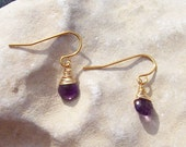 Amethyst Earrings Faceted Tears with Gold
