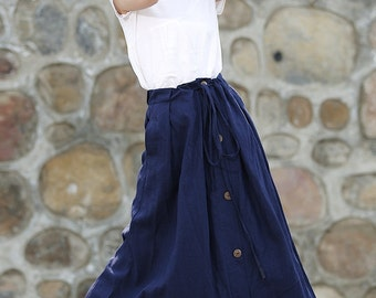 Blue Linen Skirt - Casual Everyday Maxi Length Long Buttoned Spring Summer Woman's Skirt with Drawstring Waist Plus Size Clothing C333