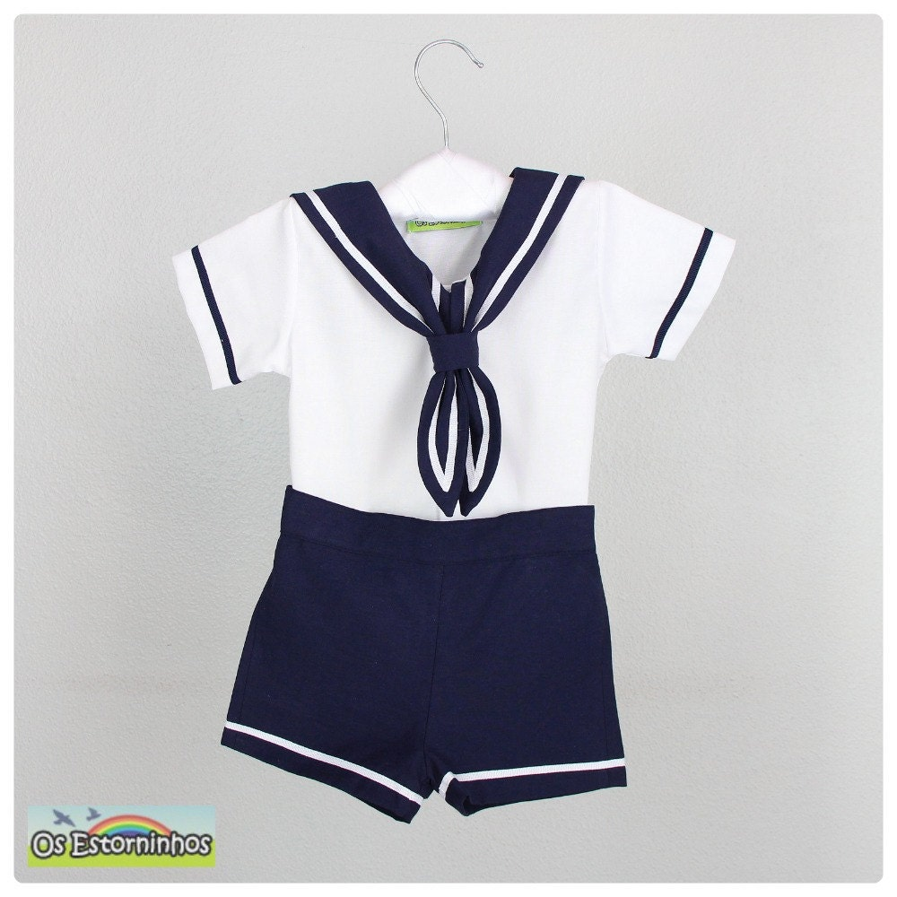 Baby Boy Outfit Boy Sailor White Cotton Shirt And Navy Blue