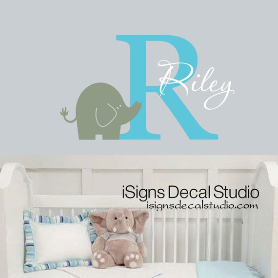 Personalized Name Wall Decal - Elephant Wall Decal - Girls Boys Name Wall Decal - Elephant Decal - Nursery Wall Decal - Elephant Decor