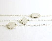 Silver disc bracelet- simple everyday, sterling silver bracelet