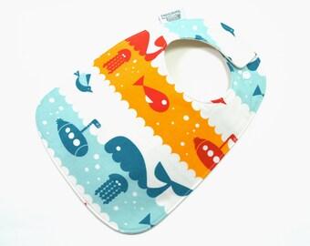 Organic baby bib, Baby Bib, Organic cotton, Nautical baby, whales, submarines, crabs, jellyfish, GOTS, baby, fits 3 months to 2 years plus