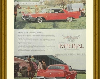 1960 Imperial Car Ad, Vintage Collectible or Red Man Cave Decor