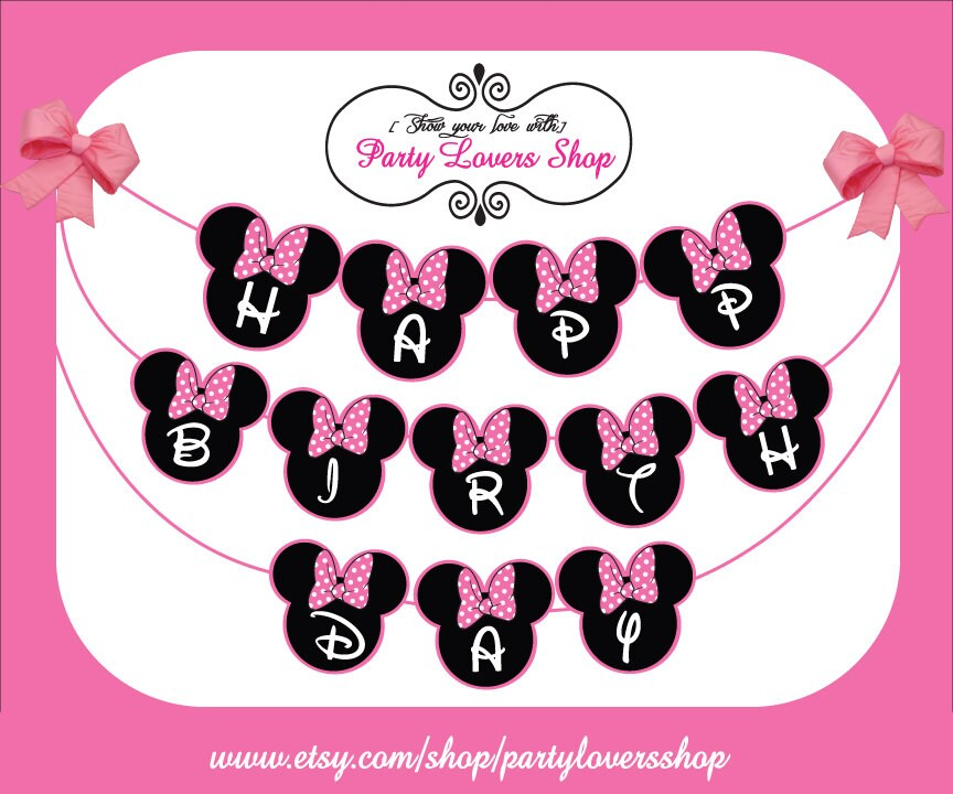 Items similar to Minnie mouse PINK happy birthday banner ...