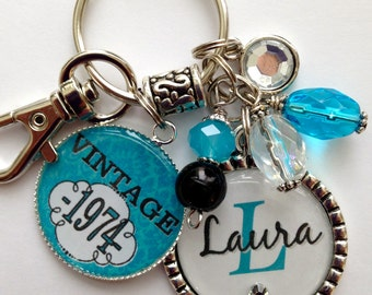 40th birthday gift keychain vintage personalized name mother sister aunt daughter milestone birthday tangerine vintage 1973 1963 1983