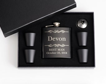 4, Personalized Groomsmen Gift, Engraved Flask Set, Stainless Steel Flask, Personalized Best Man Gift, 4 Flask Sets