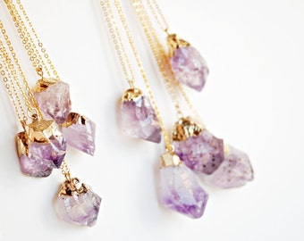 Raw Amethyst dipped in gold