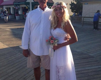 Wedding Gown Dress Custom Made Boho Beach Dress Spaghetti Straps High Low Skirt Misses Plus Size Lace and Chiffon Made in USA