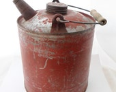 Industrial, Fuel, Can, Gas, Oil, Kerosene, Galvanized, Farm, Rusty, Red, Small, Vintage, Wood Handle