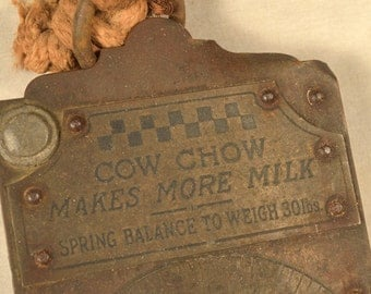 Antique Scale Hanging Advertising Purina Cow Chow Feed Brass