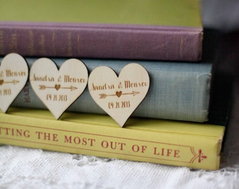 100 Customized Wood Heart Favors, Wedding Wood Favors, Save the Date Wood Magnets, Engraved Wood Wedding Favors, Wedding Gifts