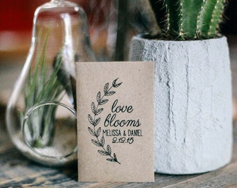 100 Customized Eco-Friendly Love Blooms Wedding Seed Favor Envelopes