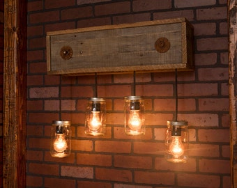 Mason Jar Fixture With Reclaimed Wood and 4 Pendants. R-26W-CMJ-4