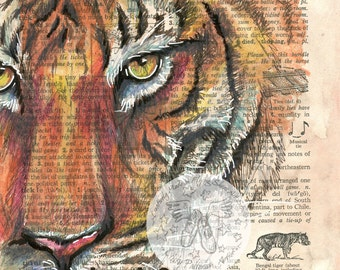 PRINT:  Tiger Mixed Media Drawing on Dictionary Page