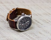 Leather Watch Strap Horween Leather Coffee Bean Brushed Hardware