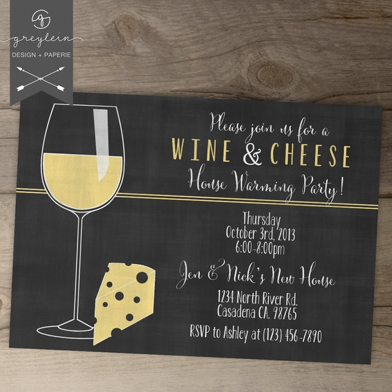 Wine and Cheese Invitations / House warming chalkboard Invites