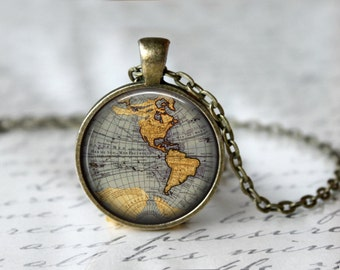 World Map Necklace, Antique Map Necklace, Globe Necklace, Map Jewelry, Wanderlust Necklace