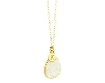 Initial Necklace, White Druzy Necklace, Personalized Necklace, Bridesmaid Necklace, Bridesmaid Gift, Wedding Jewelry