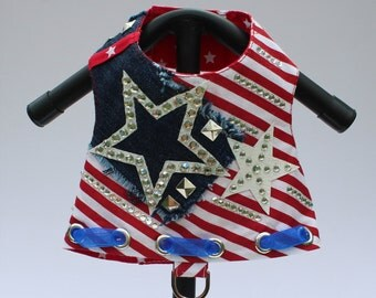 The Freedom Vest, 4th of July Harness, USA Star Harness, Red, White, and Blue Couture