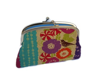 Bright Echino flower & bird coin purse, etsuko double frame wallet, purple, pink, orange with turquoise inside