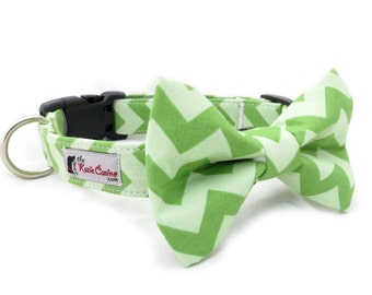 Green Chevron Dog Collar (Dog Collar Only - Matching Bow Tie Available Separately)