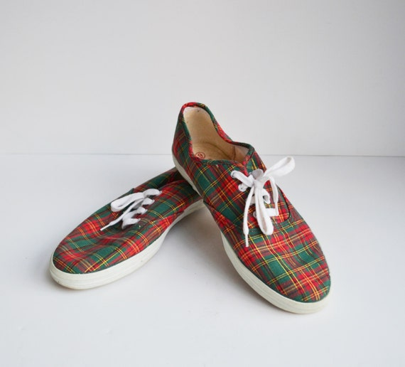 vintage coasters sneakers canvas shoes plaid green and