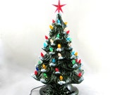 Medium Vintage Style Glazed Ceramic Christmas Tree -13.5 inches with base, hand made, painted, pine tree