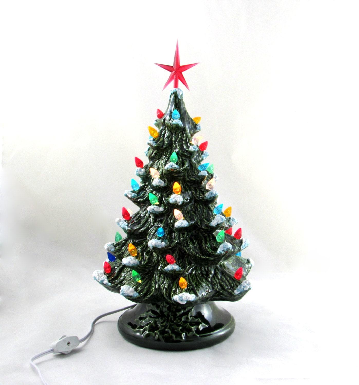 Painting Church In Snow Religious Christmas Ceramic: Medium Vintage Style Glazed Ceramic Christmas Tree 13.5