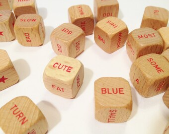 Scrabble Sentence Game - 27 Cubes (Dice) Complete Set with Red Words