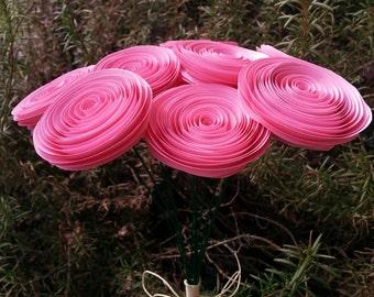 Paper Flower Bouquet - Bubblegum Pink - Handmade Rolled Paper Flower Bouquet for Brides, Bridal Bouquet, Toss Bouquet, Weddings, Showers