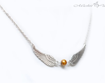 Harry Potter inspired golden snitch necklace - Silver - Freshwater Pearl