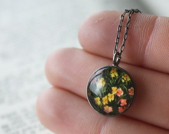 Black Floral Necklace / Flower Jewelry / Andy Warhol Pendant / Vintage Postcard / Botanical Charm / Gardener Gift / Gifts under 30