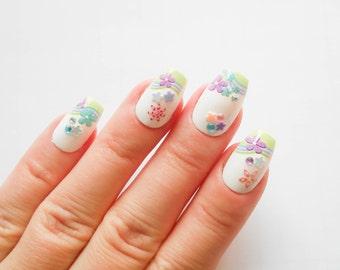 Pastel Nails, Fake Nails, Flower Nails, Floral Nails, Acrylic Nails, False Nails, Press on Nails, Kawaii Nails, 24 Set Nails