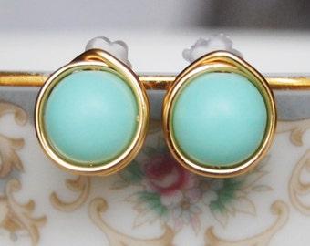 Mint Stud Earrings ,  Bridesmaid Earrings , Mint Earrings , Wire Wrapped Studs