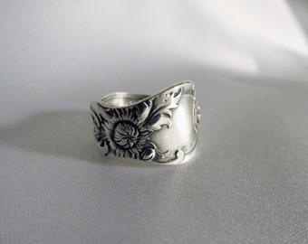 Chrysanthemum Flower Spoon Ring Antique Sterling Silver Symbolic of  Hope in Dark Times Friendship Rings