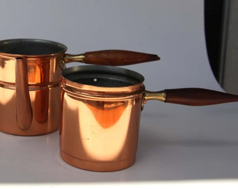 Vintage Mid Century Modern Copper Pots with Teak Handles COPPAL Made in PORTUGAL Steamed Milk Coffee Old Fashioned Kitchen Ware