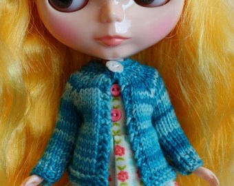 BLYTHE doll hand knit wool cardigan sweater - Bright blue
