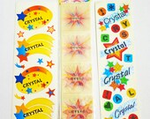 "Lot of 3 Sheets of ""Crystal"" Name Stickers"