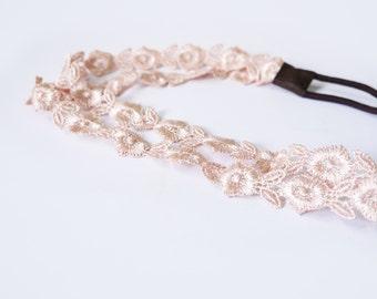 SALE 50% OFF Peach Lace Headband Wedding Headpiece Bridal Hair Accessories