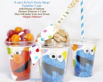 COOKIE Monster & ELMO TumbLeR Drink, PopCorn Cup Disposable Fun  Affordable Event Favor/ Cookies, Candy, Ice Cream -craft supplyEasy DIY