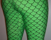 Green Mermaid Leggings, Printed Leggings, Yoga Pants, Running Pants