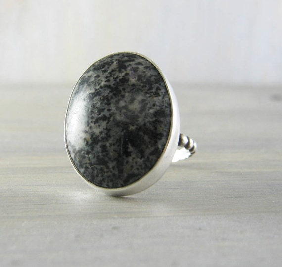 black gray speckled semi precious gemstone ring by