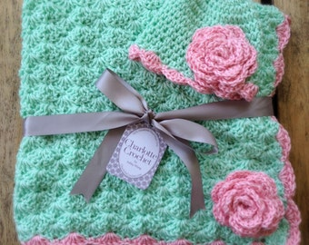 Crochet Baby Blanket with Matching Hat - Soft Green