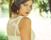 Birdcage Veil with Swarovski Crystals--bridal veil 9 inches in Ivory, White, Champagne or Black