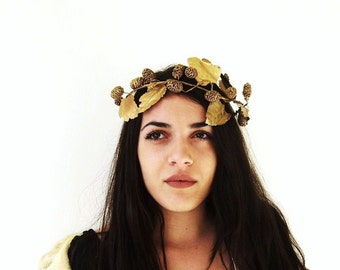 Bohemian Bride Wedding Hair Accessories Golden Wreath Leaf Crown Gold Bridal Headpiece Greek Grecian Goddess Glamour Forest Nymph Woodland