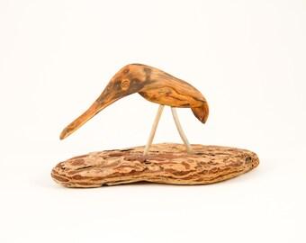 Shore Bird hand carved from a piece of Oregon Driftwood on a piece of bark, Beach Decor, Driftwood Art, Home Decor, Driftwood Sculpture