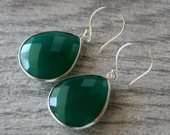 Medium Green Onyx Dangle Sterling Earrings, Emerald Green Bezel Gemstone, 925 Sterling Silver Drop Earrings, Large Green Teardrop